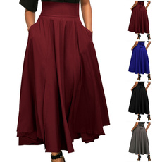 Fashion Skirts, long skirt, elastic waist, Waist