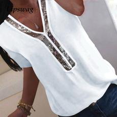 vnecktshirt, Summer, Plus Size, Cotton T Shirt