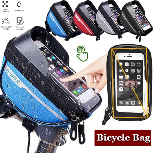 Polyester Mountain Bike Waterproof Bag Touchscreen Cell Phone Stand Pannier