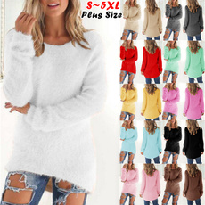 Plus size top, Tops & Blouses, knitted sweater, Sleeve