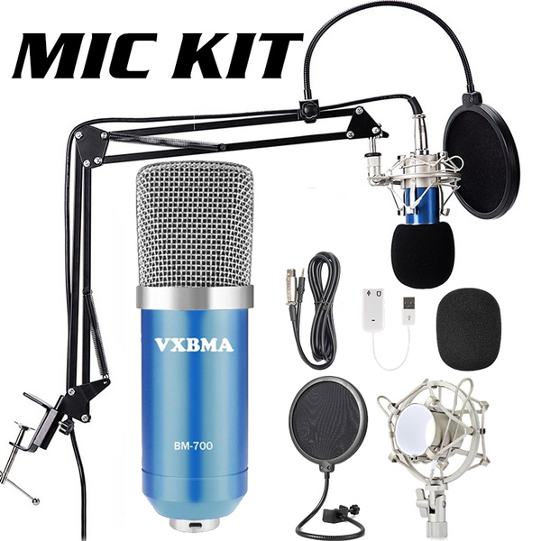 Vxmba Bm 700 Cardioid Condenser Microphone Set Sound Recording Equipment With Mic Stand Sound Card Shock Mount For Computer Gaming Broadcasting Ktv Singing Wish