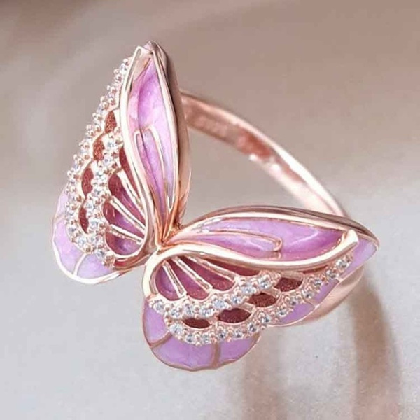 butterflyring, DIAMOND, Rose Gold Ring, Gifts