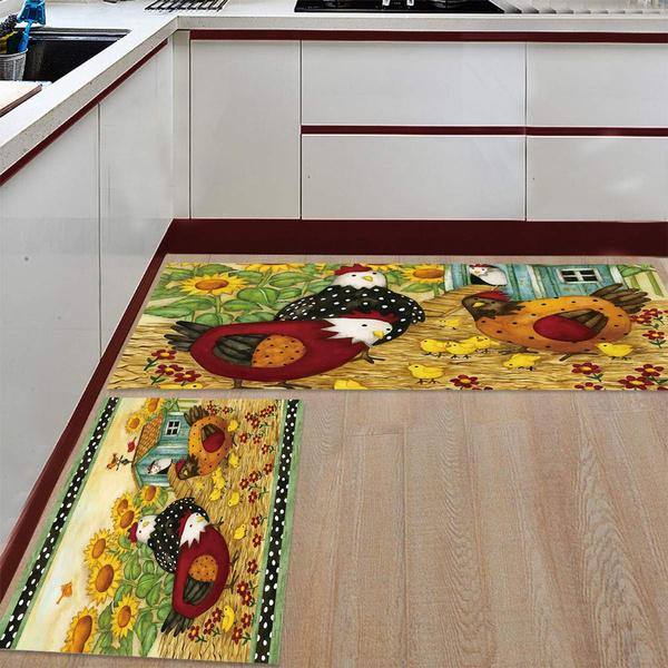 2 Piece Non Slip Kitchen Rug Floor Mat Carpet Bathroom Area Rugs Doormat Runner Set Nature Farm Life Rooster Hen Sunflower Wish