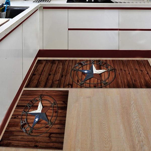Wooden Western Texas Star 2 Piece Kitchen Rug Floor Mat Kitchen Carpet Bathroom Area Rugs Doormat Runner Rug Set