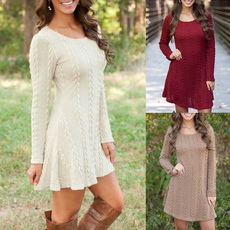 Mini, Round neck, Shorts, short dress