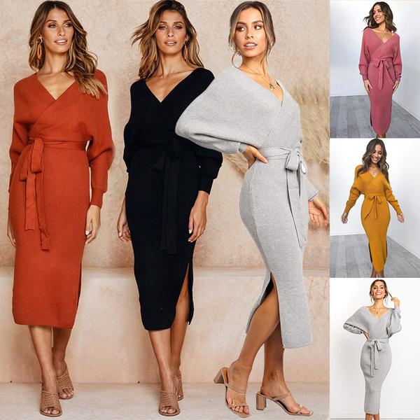 sweaterdresswoman, Long Sleeve, Dress, neck dress