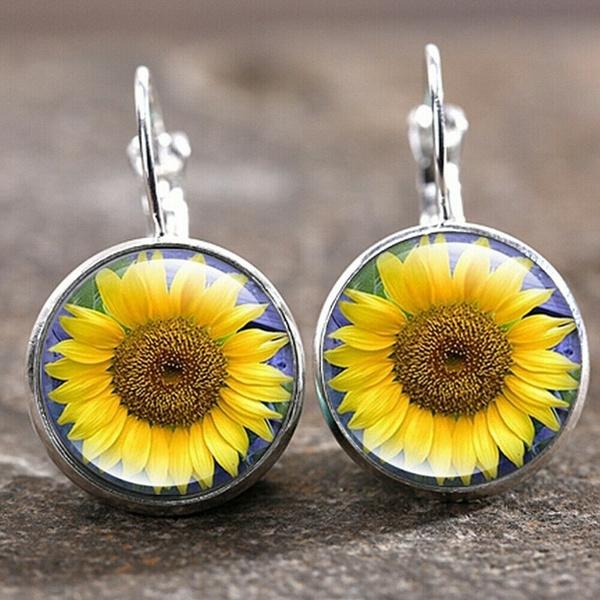 Fashion, Jewelry, Sunflowers, Earring