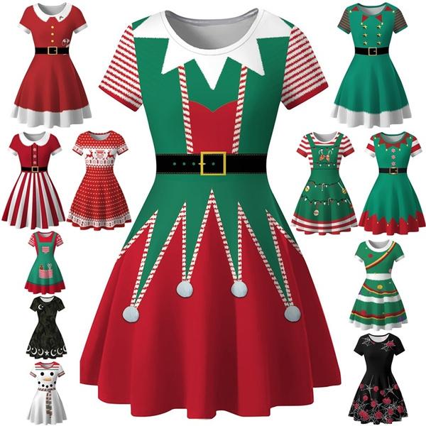 santadre, short sleeve dress, sleeve dress, Christmas
