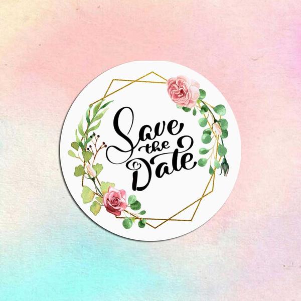 party, Flowers, Modern, savethedatelabel