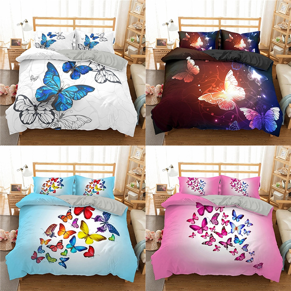 Sleepwish Butterfly Bedding Set for Kids Girls 3D Colorful Butterflies Duvet Cover King Size 3 Pieces Trendy Butterfly Bedroom Decor