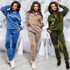tracksuit for women, hooded, Winter, Sleeve