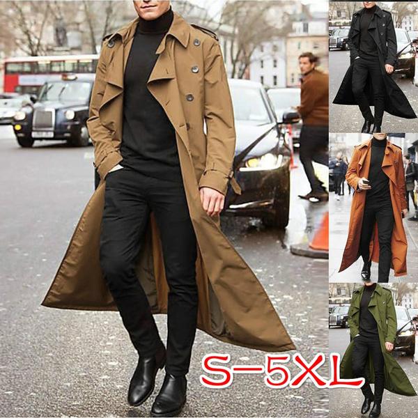 Men Winter Plus Size Long Trench Coat, Fashionable Long Trench Coats