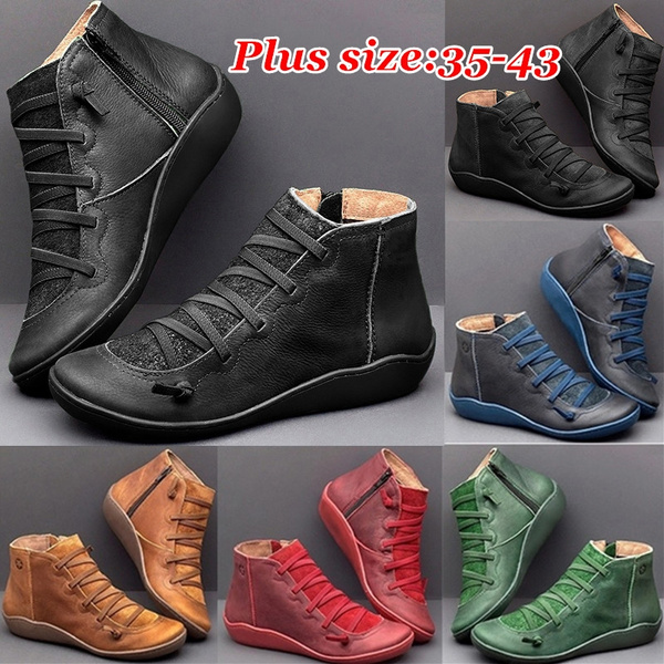 Womens Leather Flat Heel Ankle Boots