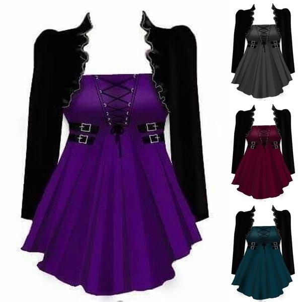 Goth, casualshirtforwomen, Medieval, Long Sleeve