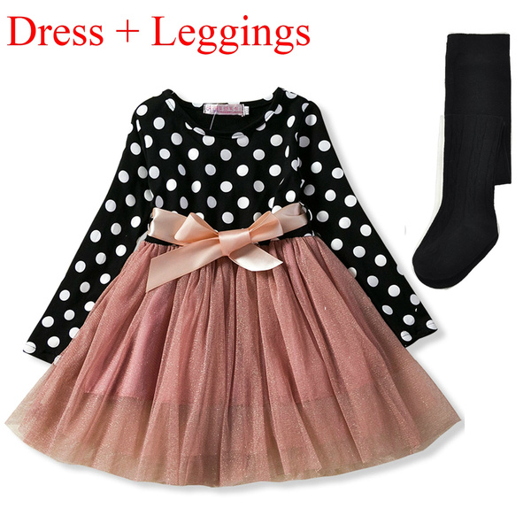 Kids Girls Princess Dress Long Sleeves Polka Dots Pattern Birthday Party Dress