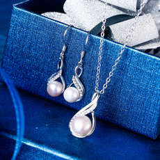 Sterling, Infinity, pearls, Bridal Jewelry Set