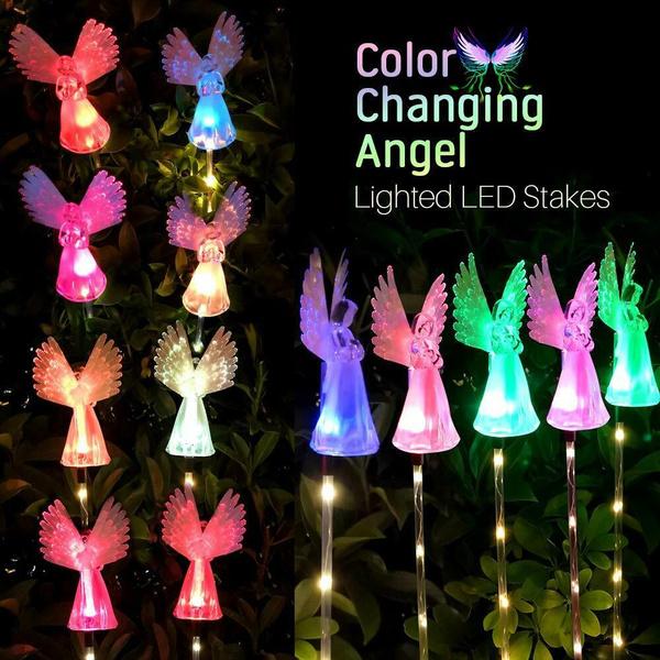 3 2 1 Pack Outdoor Garden Light Angel Stake Lights Lawn Led Solar Smart Garden Party Xmas Decor Lamp Wish