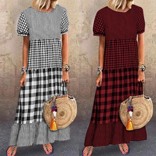 rufflehemdres, pleated dress, Plaid Dress, Sleeve