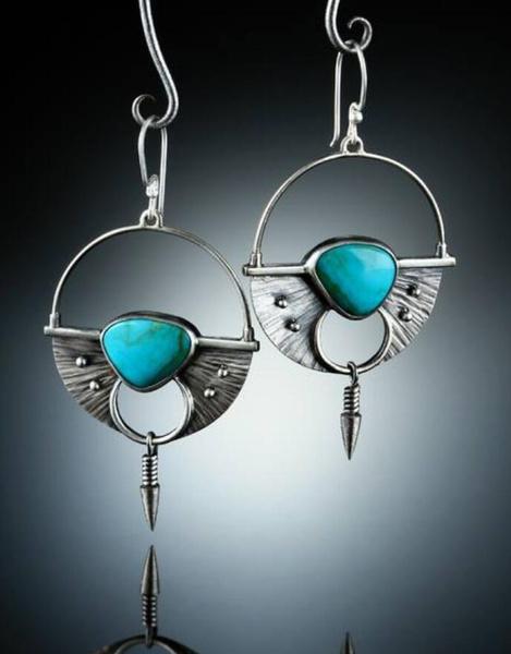 Turquoise, Dangle Earring, Gemstone Earrings, Stud Earring