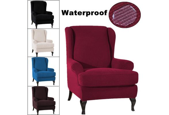 Fabric Elastic Armchair Wingback Cover, Velvet Wing Chair Slipcover