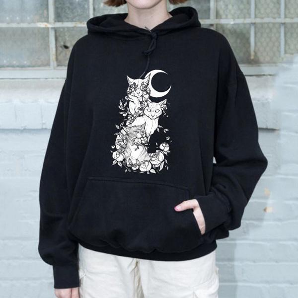 catprinthoodedsweatshirt, Goth, Fashion, cathoodie