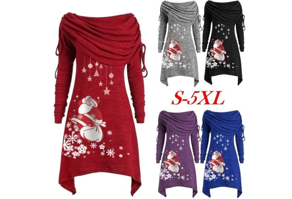 DONTAL Women Plus Size Pullover Top Santa Snowflake Print Ruched Long Foldover Collar Tunic