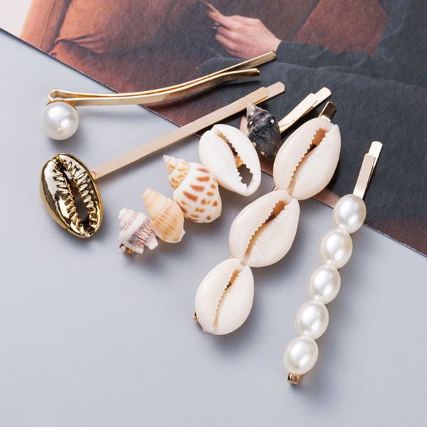 Fashion, hair jewelry, pearlhairclip, seashell