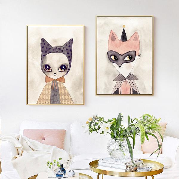 cutecartoonanimal, foxposter, canvaspainting, Posters