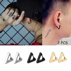 Steel, Goth, Hoop Earring, Triangles
