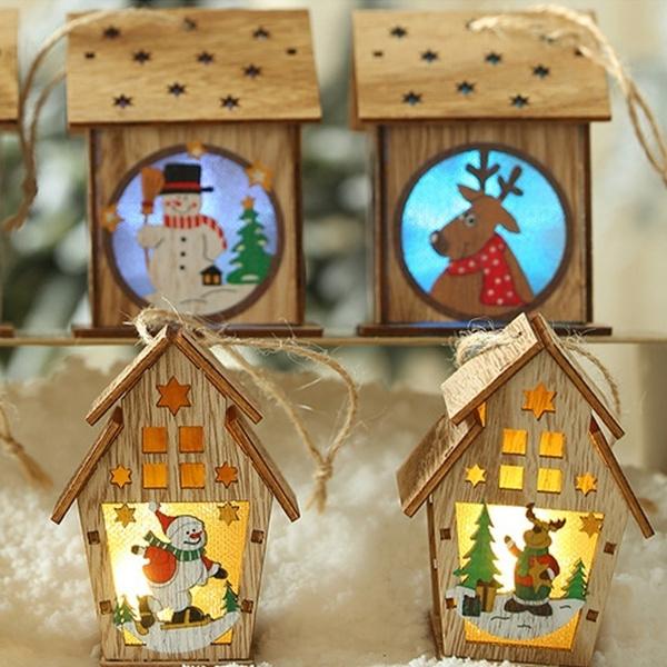 cute, Decor, woodenhouselamp, lednightlight