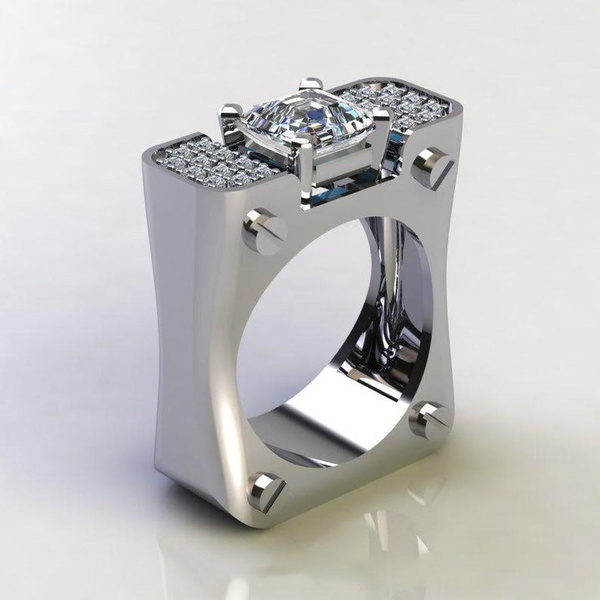 Sterling, DIAMOND, wedding ring, 925 silver rings