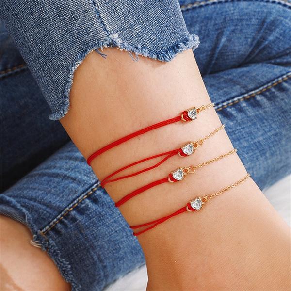 Heart, Fashion, rope bracelet, Anklets