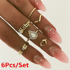 Heart, crystal ring, letterring, hollowring