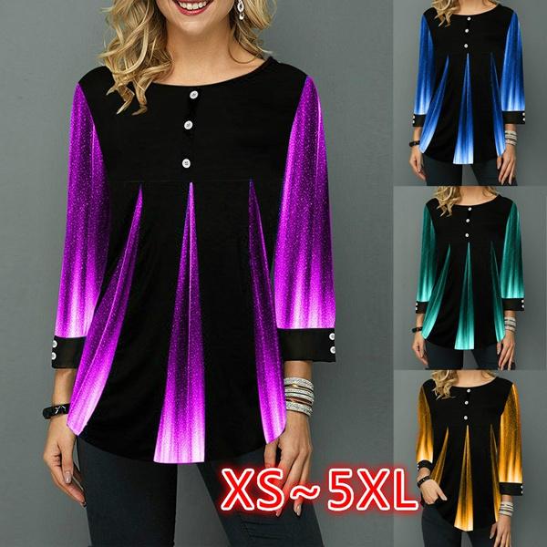 blouse, gradientcolorprintingblouse, Tops & Blouses, Winter