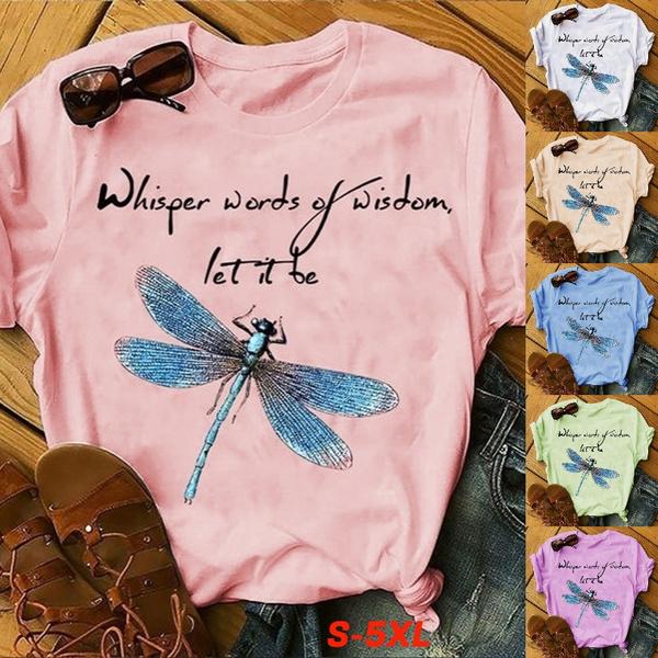 printedtop, Plus Size, Cotton T Shirt, dragon fly