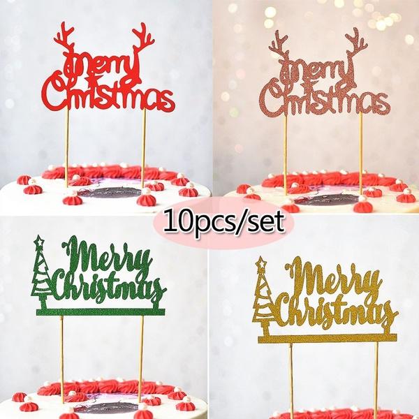 decoration, Christmas, gold, caketopper