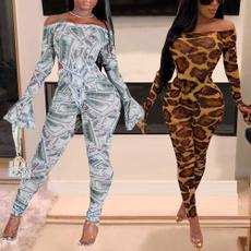 bodycon jumpsuits, Necks, Sleeve, leopard print