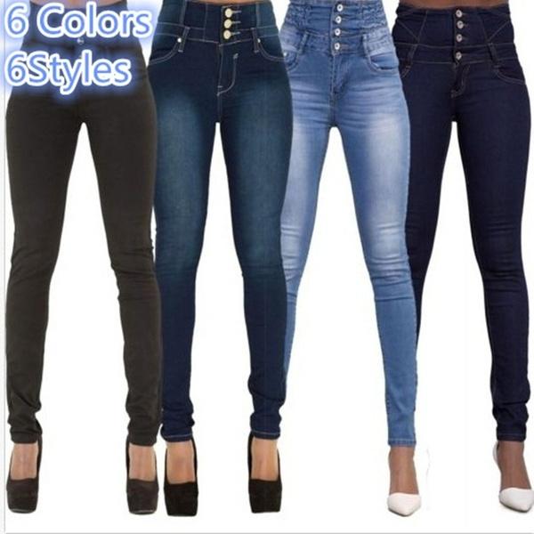 Fashion, high waist, pants, Denim