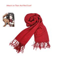 mikasaackermanscarf, attacktitanscarf, Tassels, Fashion