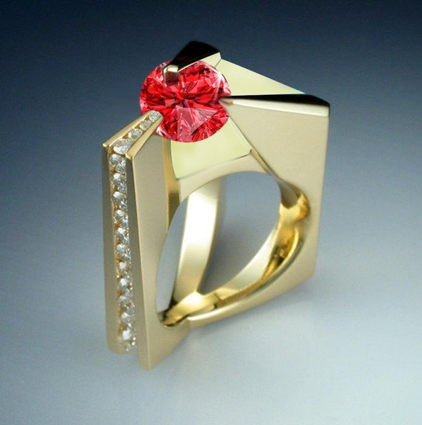 Gold 18k modern design Handmade silver 950 Unique gift for her Sterling silver Silver and Gold Luxury Women Ring