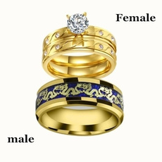 Steel, Couple Rings, Jewelry, gold