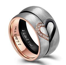 Couple Rings, Steel, heart ring, Love