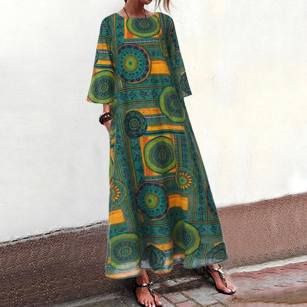 Plus Size, printeddres, Sleeve, long dress