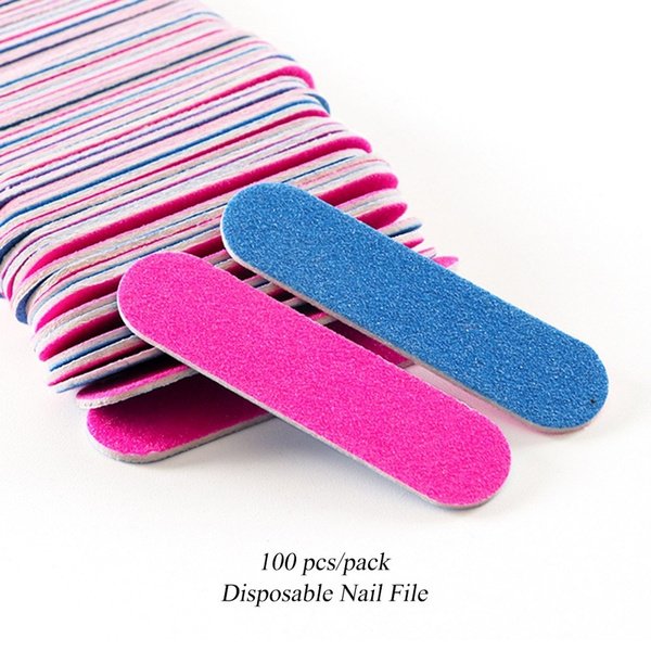 100pcs Nail File Disposable Wooden Sandpaper Files For Manicure Double Sided Small Nail Buffer Wish
