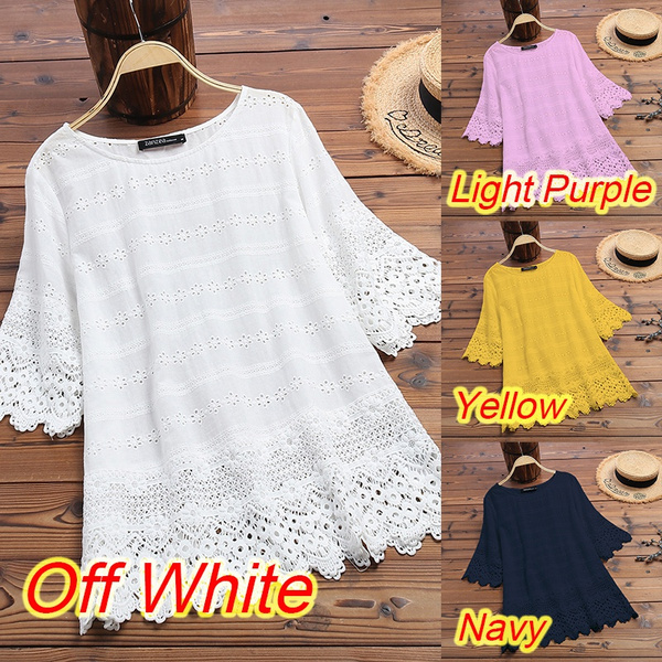 blouse, white shirt, Lace, womencottontop