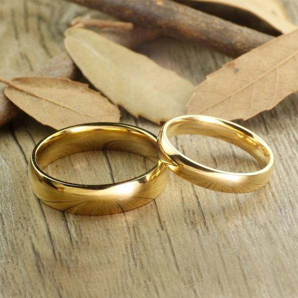 Steel, Couple Rings, Romantic, gold