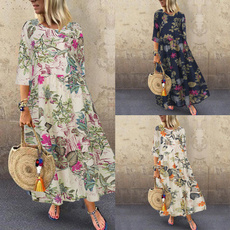 loosedressforwomen, 34sleevedres, Necks, Manga