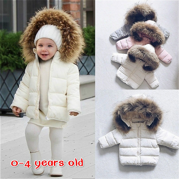 Toddler Kid Baby Boy Girl Hooded Coat Winter Thick Jacket Winter Warm Outwear