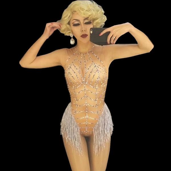 stagecostume, rhinestonebodysuit, Nightclubs costume, womenbodysuit