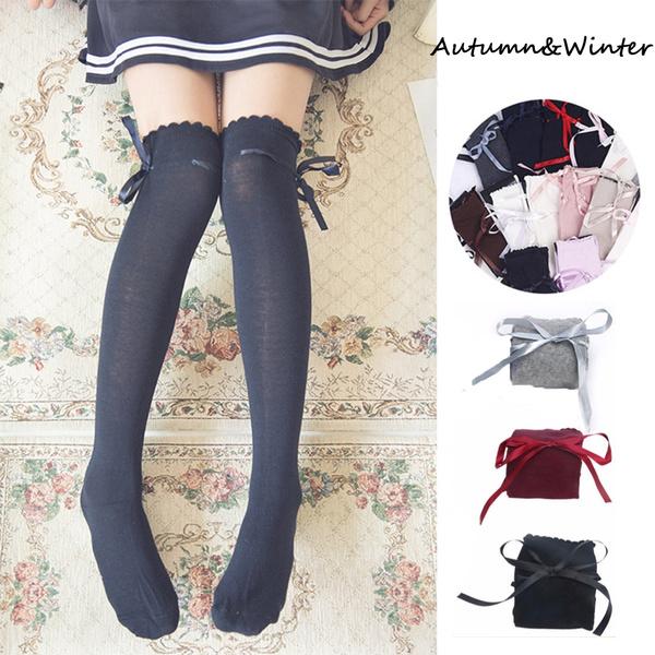 Lolita Long Socks Ribbon Bow Bow Over